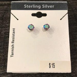 Tarnish resistant sterling silver stud earrings